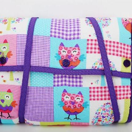 Nappy Change Bag - Owls Purple