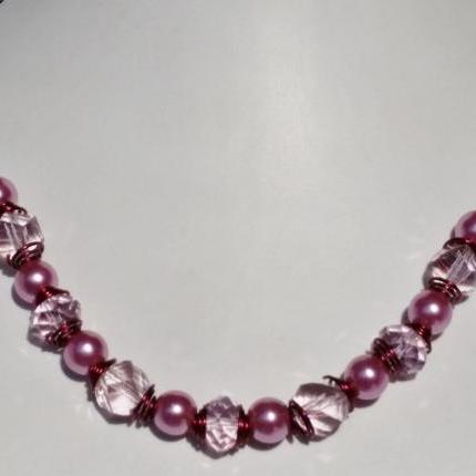 Athena Pink Necklace (silver clasps)