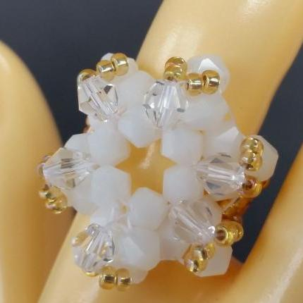 Supernova Bicone Ring - Frost and Gold