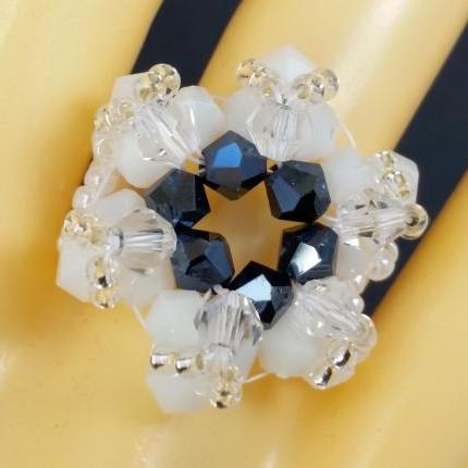 Supernova Bicone Ring - Frost and Midnight Blue