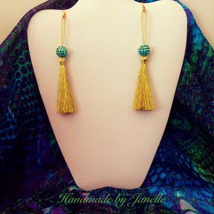 Green/Blue Sparkle & Tassel Earrings