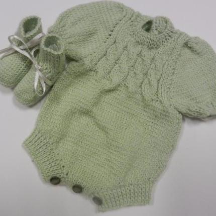 "Green knitted Rompers and Booties 15"" Doll"