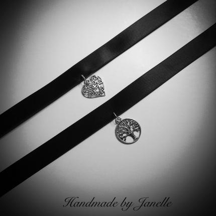 Black Satin Ribbon Chokers  With Heart or Tree of Life Handmade
