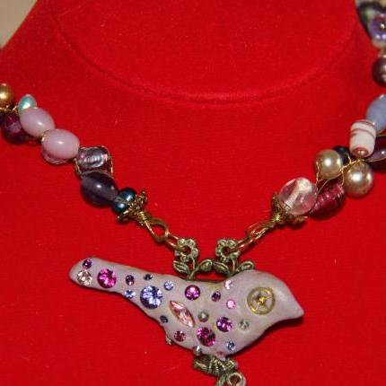 beaded wrap purple/pink necklace with polymer bird