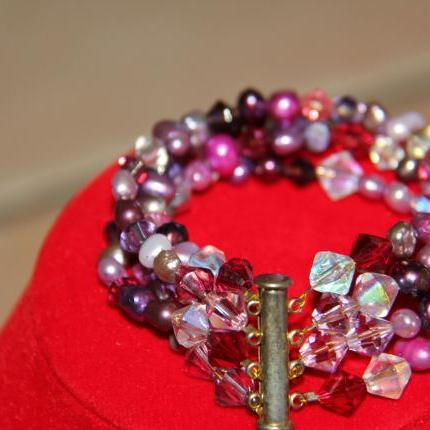 purple pearl 4strand bracelet