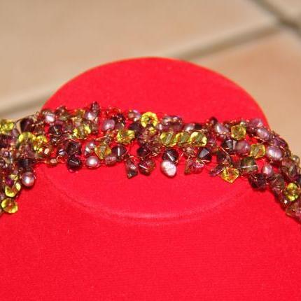 wire wrapped purple/green bracelet