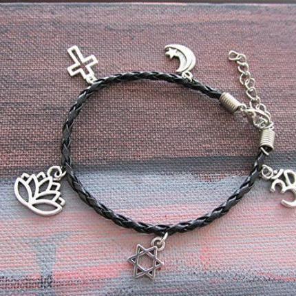 Braided leather bracelet charm bracelet Om star of David lotus crucifix cross star crescent moon religious Hindu Hebrew Buddhist Christian Muslim.