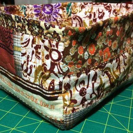 Quilted storage box - brown
